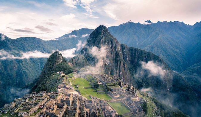 Machu Picchu, Peru shrouded in mist