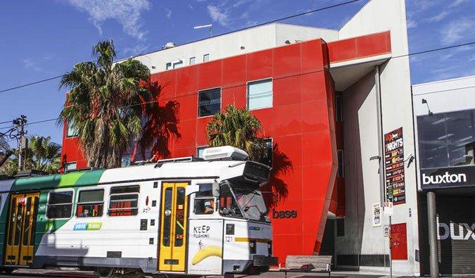 The exterior of the Base St. kilda Hostel in Melbourne, Australia