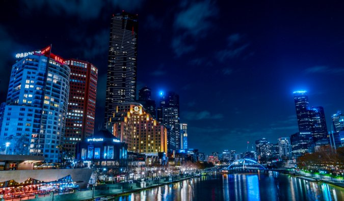 The skyline of Melbourne, Australia lit up at night
