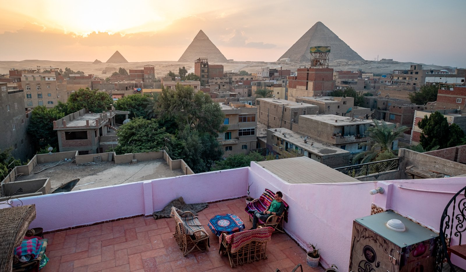 The balcony of a local hotel in Cairo overlooking the pyramids in Egypt