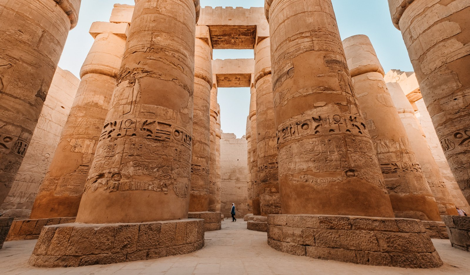 Massive pillars near the pyramids in Egypt