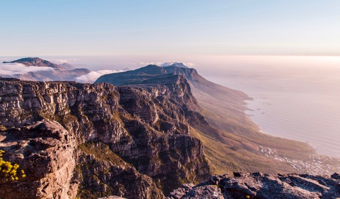 Table Mountain in Cape Town during a colorful sunset