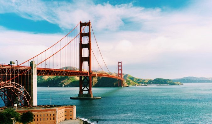 The famous Golden Gate Bridge in San Francisco, USA in the summer