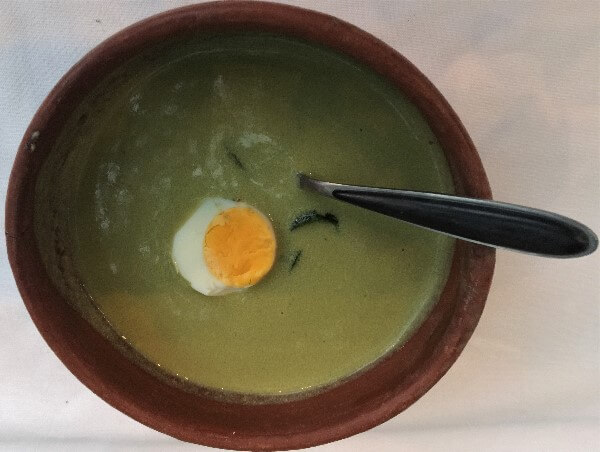 Chile Poblano Soup with Ranch Egg