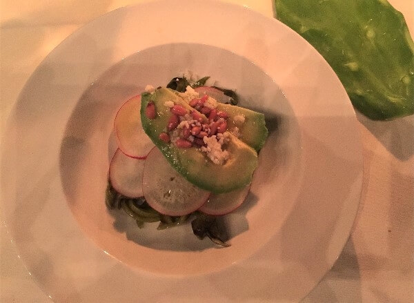 Nopal, Avocado and Radish Salad with Pine Nuts and Lime Vinaigrette