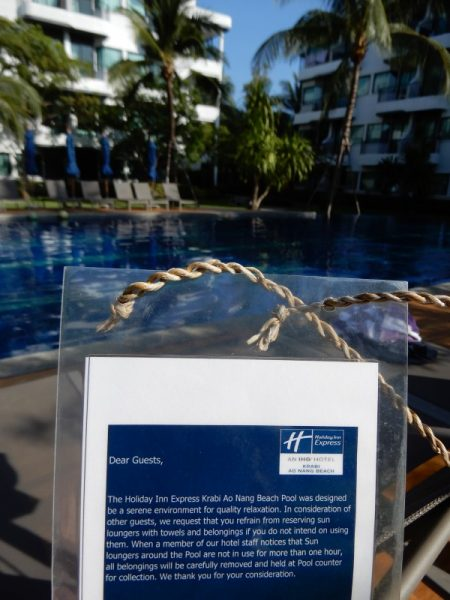 Holiday Inn Express Krabi Ao Nang Beach Lounge Chair Notice