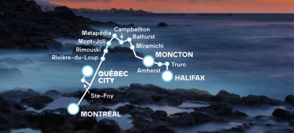 VIA Rail Canada The Ocean Route Map